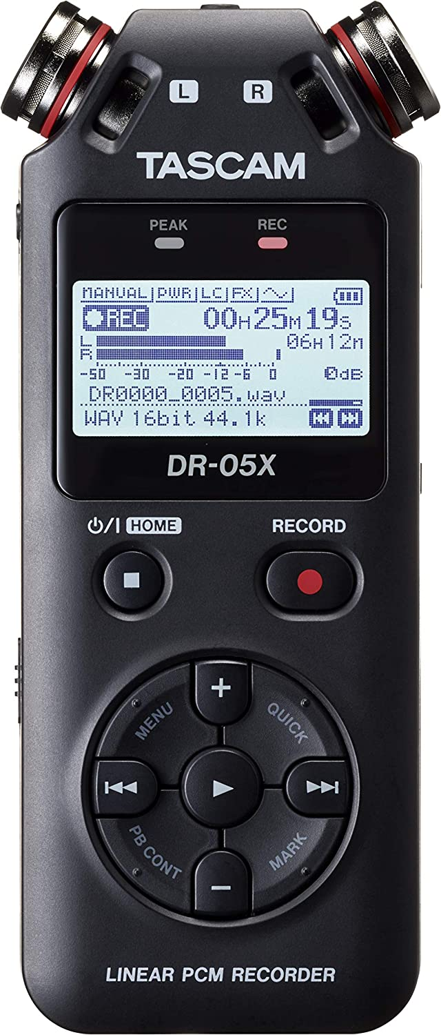 DR-05X Tascam Portable audio recorder and USB interface recording and playback of MP3, WAV files