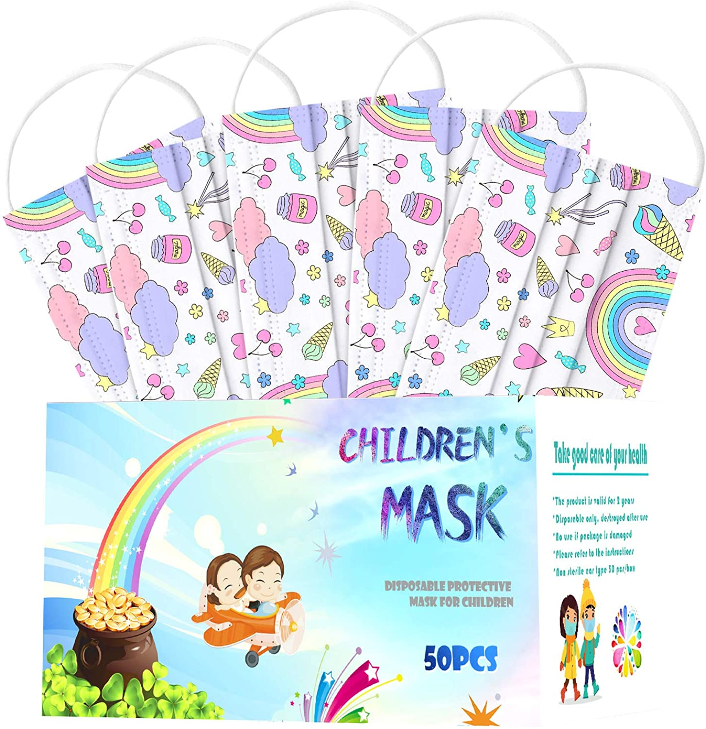AIHOU 50PCS Kids Disposable Christmas Face Mask Childrens 3Ply Earloop Comfortable Breathable Protective Mask Festival Party
