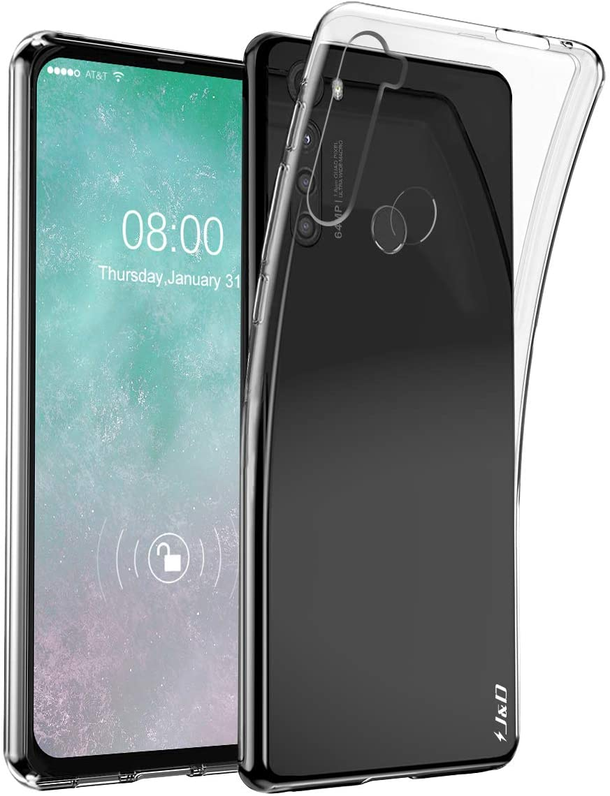 J&D Case Compatible for Motorola One Fusion +/One Fusion Plus Case, Ultra Slim Lightweight Clear Shock Resistant Protective Rubber Silicone Bumper Case for Motorola One Fusion + Cover