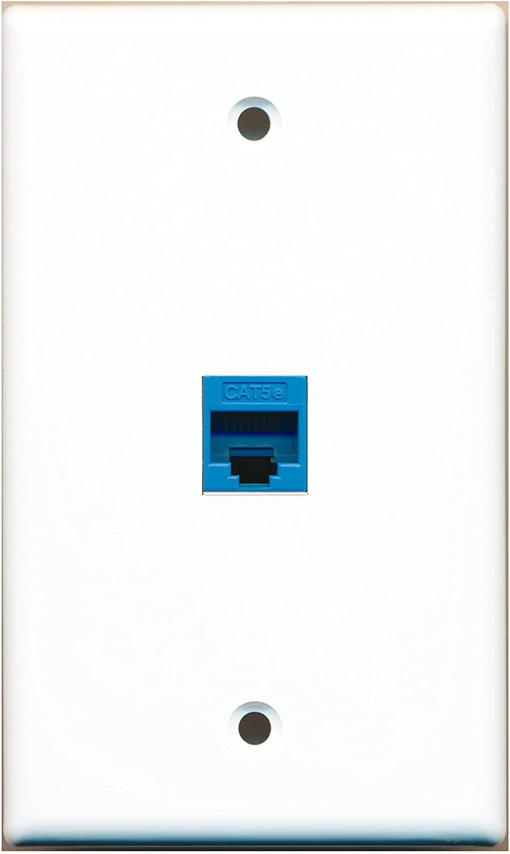 RiteAV - 1 Port Cat5e Ethernet Blue Wall Plate - Bracket Included