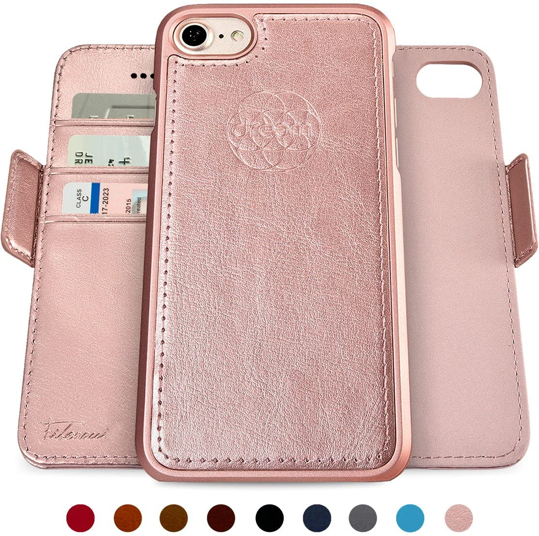 Dreem Fibonacci 2-in-1 Wallet-Case for iPhone SE 2020 iPhone 8/7, Magnetic Detachable Shock-Proof TPU Slim-Case, RFID Protection, 2-Way Stand, Luxury Vegan Leather, GiftBox - Rose-Gold