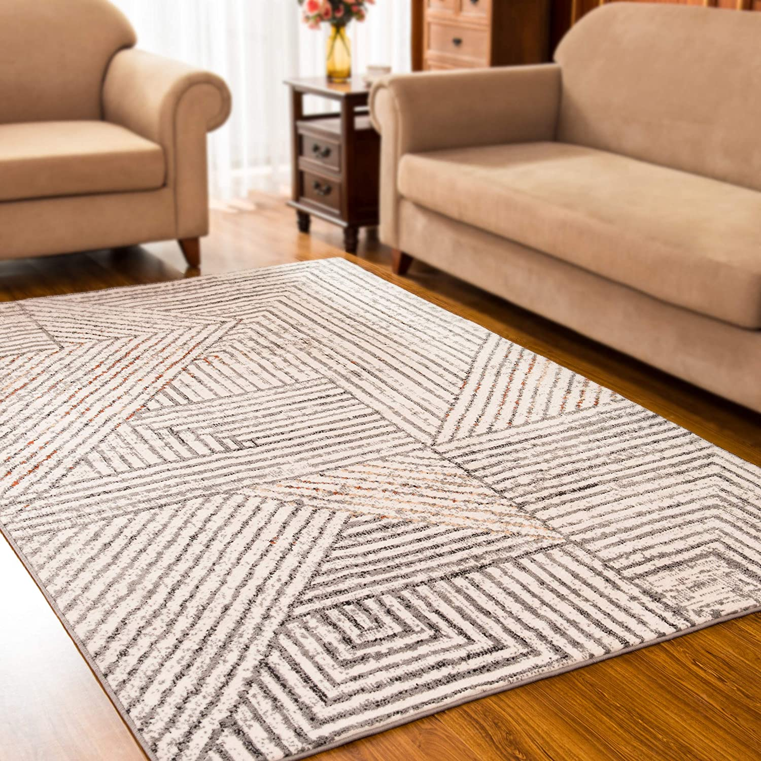 subrtex Geometric Area Rugs for Living Room Bohemian Home Rug Short Plush Turkish Area Rug Soft Indoor Carpets for Bedrooms (4'× 6', White Striped)