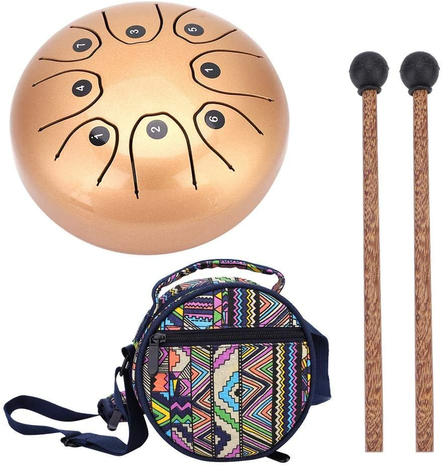 Yinhing Tongue Drum Perfect Quality Hand Pan Handpan Tongue Tank Drum 5.5 Inch Percussion(Gold)