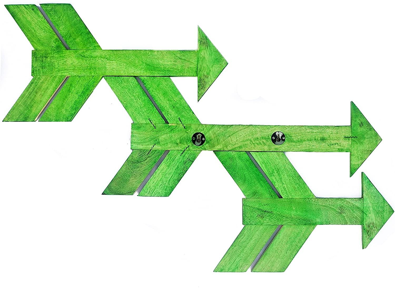 Nagina International Nautical Large Rustic Pirate's Directional Arrows Set of 3 - Captain Maritime Beach Home Decor Gift (Green)