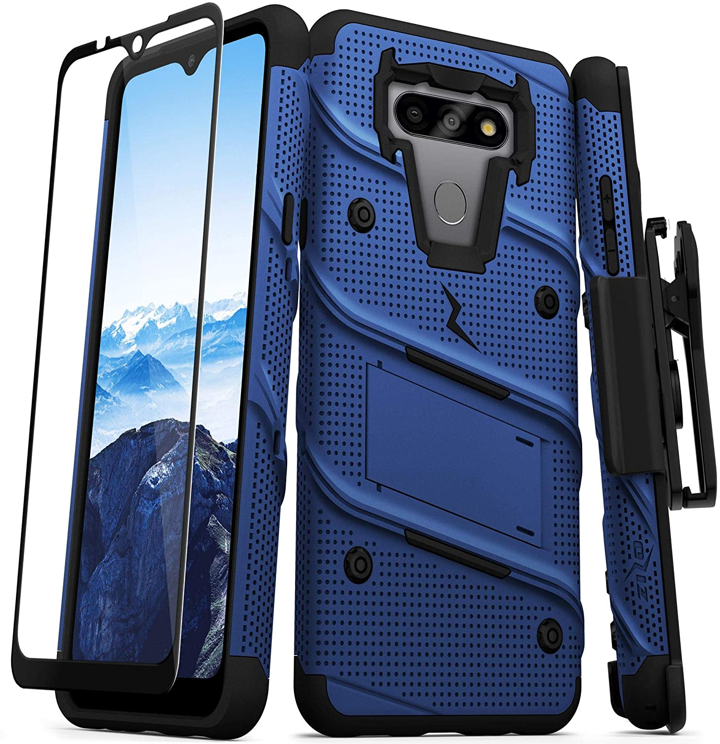 ZIZO Bolt Series for LG Fortune 3 Case with Screen Protector Kickstand Holster Lanyard - Blue & Black