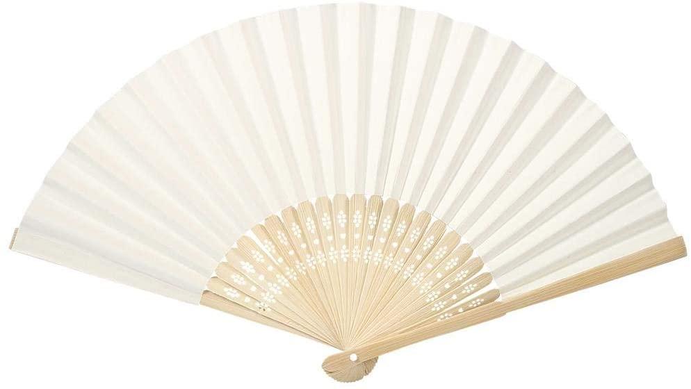 Folding Fan Bamboo Fans Handheld Paper Fan Multi-Colored Handheld Fan for Church, Festival, Party, Wedding, Dancing, Gift, Performance, Decorations(Beige)