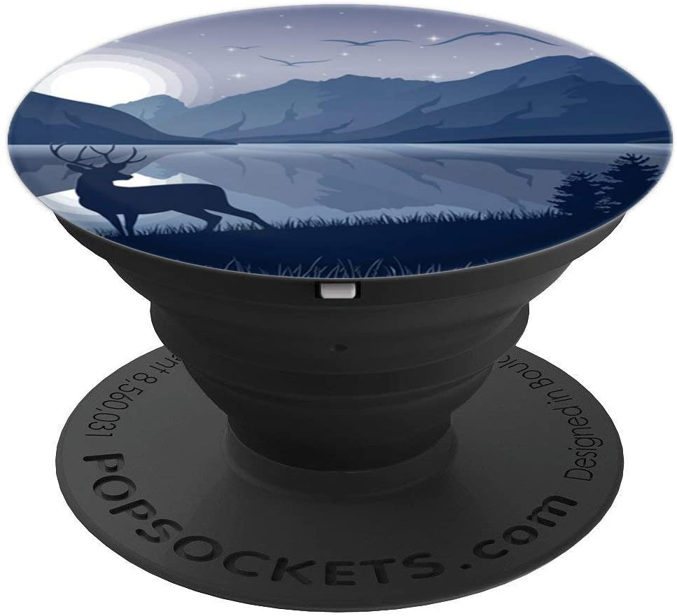 Moon Night Pop Mount Socket Mountain Art Work Deer PopSockets Grip and Stand for Phones and Tablets