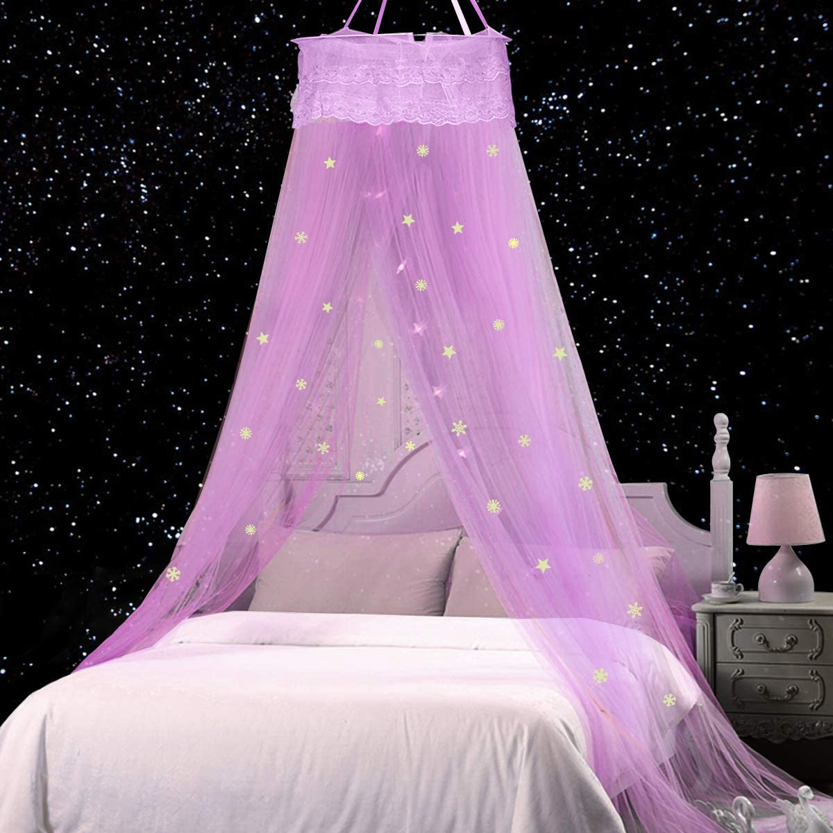 Jeteven Bed Canopy Lace Mosquito Net with Stars Snowflake, Anti Mosquito As Mosquito Net for Baby, Kids, Girls Princess Play Tent Reading Nook Round Lace Dome Curtains Baby Kids Games House