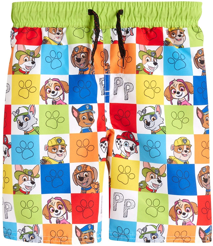 Nickelodeon Toddler Boys Paw Patrol Swim Trunk Board Shorts, Paw Multi Color Box, Size 5/6