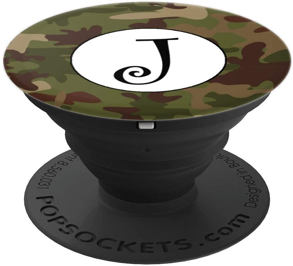 Camo Pop Socket Black Letter J - Phone Stand Camouflage PopSockets Grip and Stand for Phones and Tablets