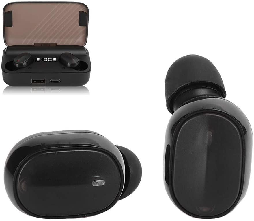 Qioni Wireless Earbuds, Bluetooth Headphones, 3D Stereo Bluetooth 5.0 Headphones Jogging Running for Workout Sport(A9 Black)