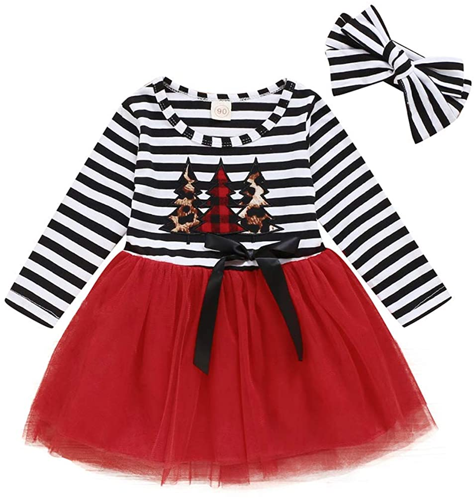 Toddler Baby Girls Christmas Dress Outfit Striped Christmas Tulle Dress Headband