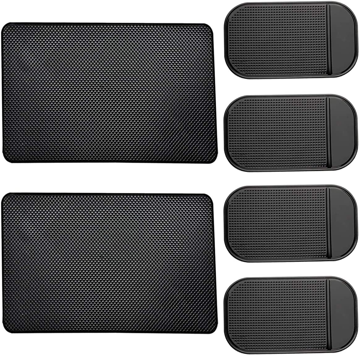 AYWFEY 6 Pack Non-Slip Car Dashboard Grip Pad,Anti-Slip Heat Resistant Sticky Gel Dash Latex Mat for Cell Phone Vehicle Sunglasses Keys Coins CD Electronic Devices GPS,2 Sizes,Black