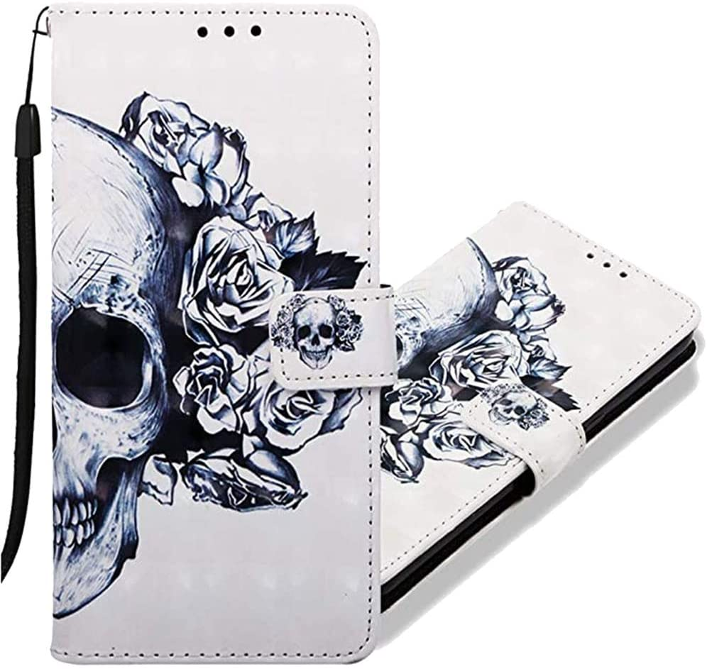MRSTERUS Pixel 4 case 3D Creative Pattern Design PU Leather Flip Notebook Wallet Case Magnetic Closed Folding Stand Slot Bumper Case for Pixel 4 Black Skull Flower YB