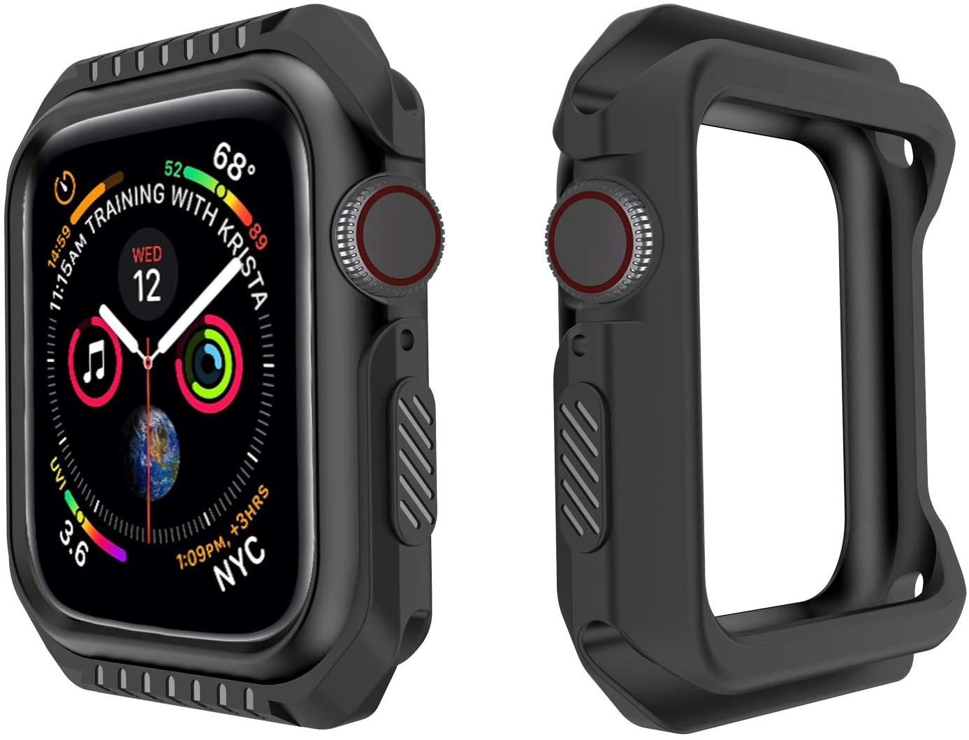 Compatible with Apple Watch Series 6 SE 5 4 3 2 1 Shatter-Resistant Bumper case Works with Apple Watch 38mm 40mm 42mm 44mm (Black, 42mm)
