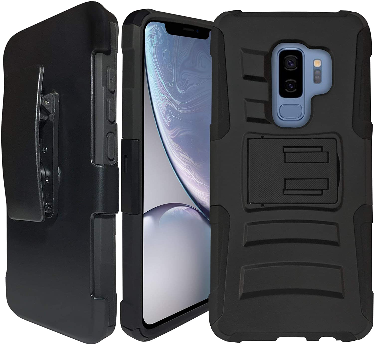 CasesonDeck Case for Samsung Galaxy S9+ / S9 Plus - Clip Combo Case, Dual Layer, Built in Kickstand Holster (Black)
