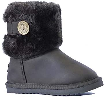 New Kids Classic Snow Boots Faux Leather Fashion Button Boots Outdoor Shoes(Toddler/Little Kid/Big Kid)