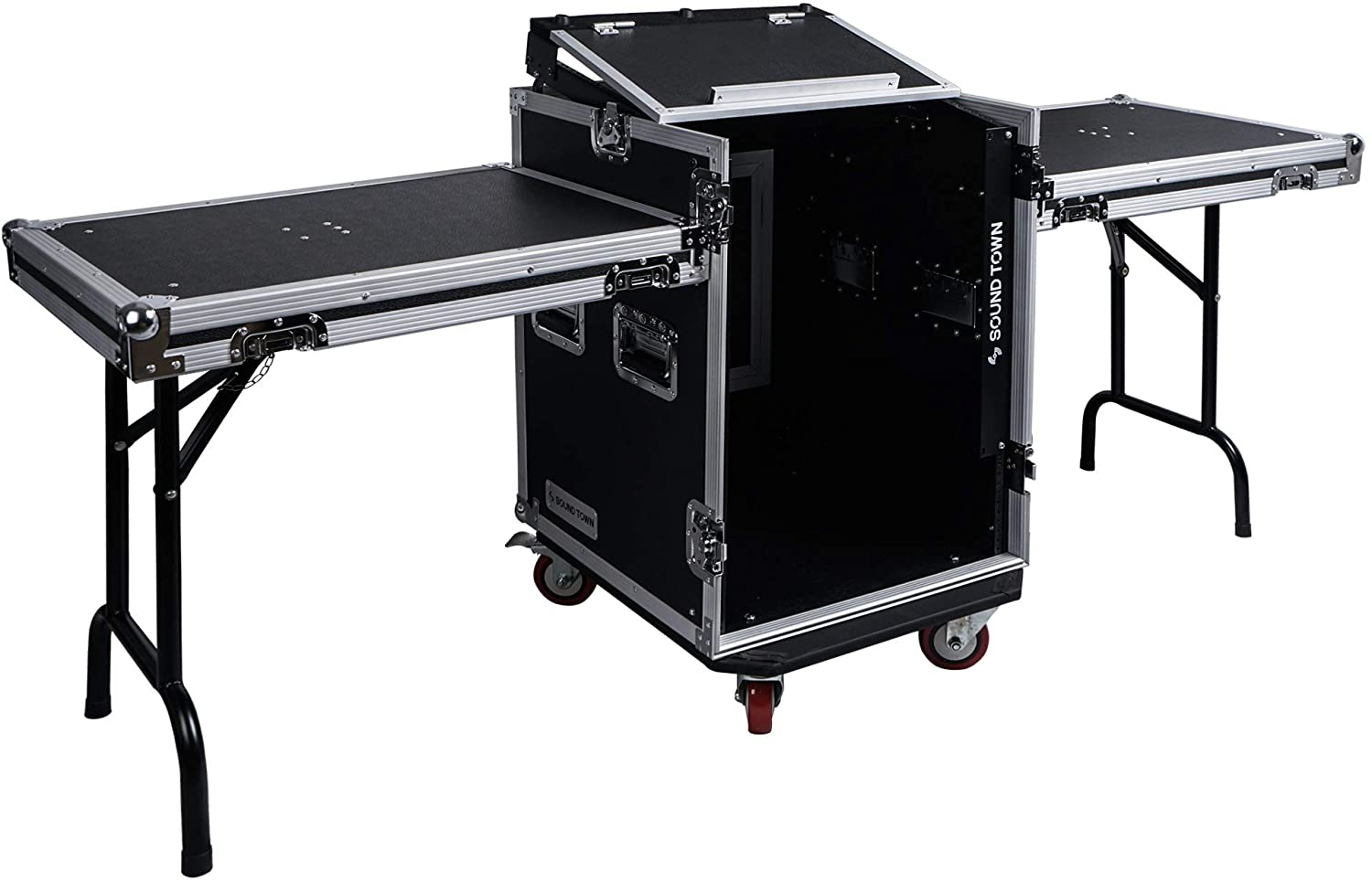 Sound Town 14U PA DJ Rack/Road ATA Case with 11U Slant Mixer Top, 20'' Rackable Depth, 2 DJ Work Tables and Casters, 14-Space Size (STMR-14UWT2)