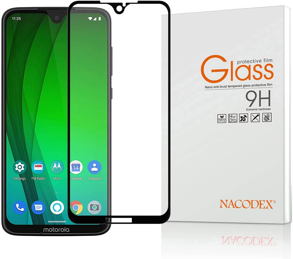 for Motorola Moto G7 Plus,Nacodex Full Coverage Tempered Glass Screen Protector for Moto G7 Plus, 9H HD-Clear, Ant-Scratch -Black