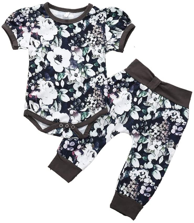 Outfits for Baby and Kids, Newborn Infant Baby Boys Girls Floral Print Romper Bodysuit Long Pants Outfits, Girls Outfits&Set