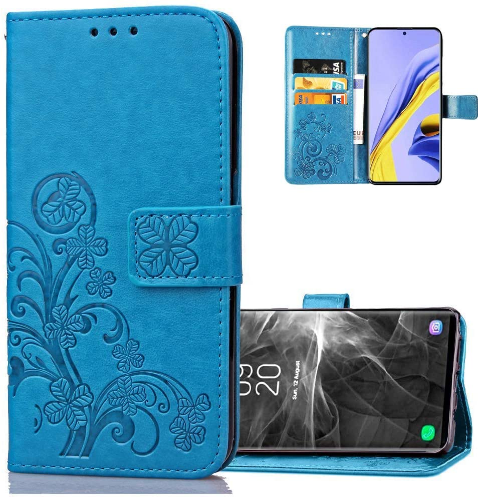 ISADENSER Samsung A81 Case Galaxy M60S Case Galaxy Note 10 Lite Case Lucky Design with Magnetic Closure Credit Card Slot Holder Flip PU Leather Wallet Case for Samsung Galaxy A81 Clover Blue SD
