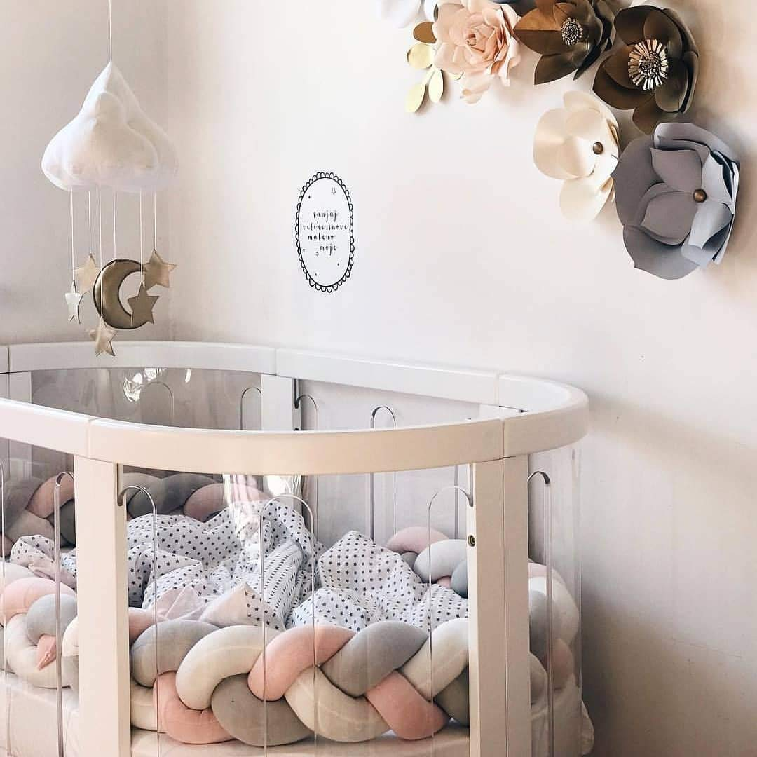 Infant Soft Pad Braided Crib Bumper Knot Long Pillow Cushion Cradle Decor for Baby Girl and Boy (White-Grey-Pink, 79
