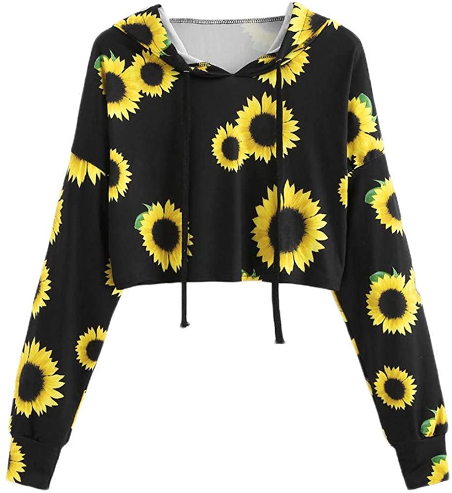 Women's Long Sleeve Blouse Hooded,Ladies Casual Sunflower Printed Top Loose Shirt Sweatshirt