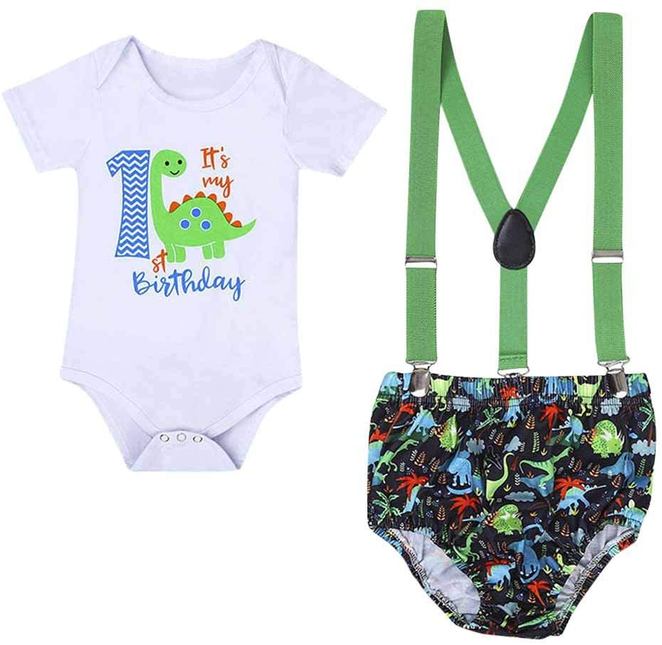 Boys Outfits&Set, Newborn Infant Baby Boy Dinosaur Gentleman Birthday Romper Straps Shorts Outfits, Clothes for Boys and Girls