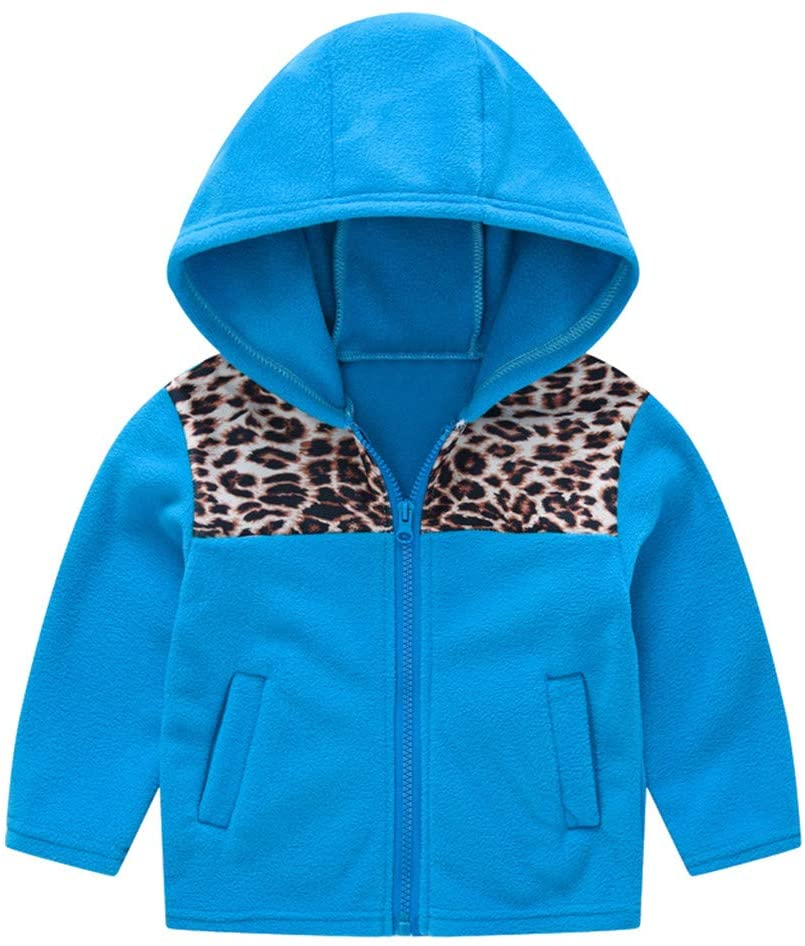 Coats and Jackets for 1-2 Years Baby and Kids, Toddler Baby Gril Boy Spring Leopard Print Cute Zipper Hooded Coat Outwear, Girls Coat&Jacket (Blue 1-2 Years)