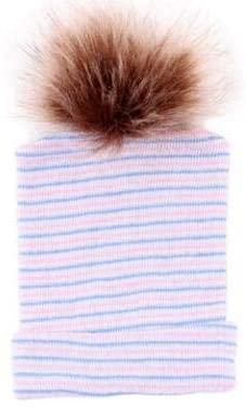 DaMohony Infant Baby Hat, Newborn Boys Girls Unisex Cotton Hat Winter Warm Cap with Fuzzy Ball