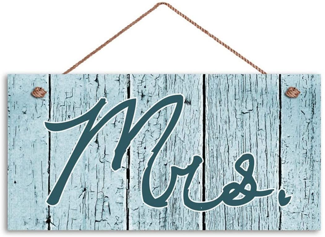 MAIYUAN Mr. and Mrs. Wedding Signs Distressed Wood Style, Blue Green Rustic Signs, 6