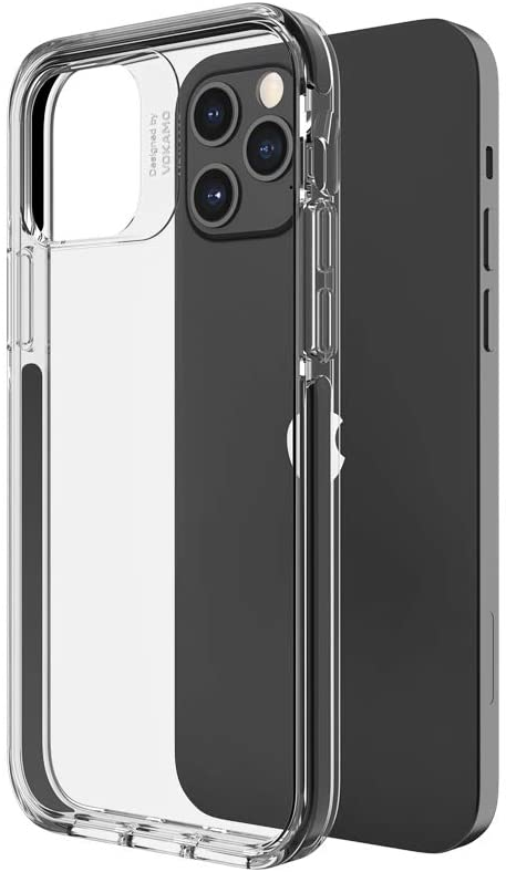 VOKAMO Case for iPhone 12 Pro Max Clear Case [Military Grade Drop Test] Shockproof Clear Hard PC Back Soft TPU Edge, Protective Phone Case Cover for iPhone 12 Pro Max 6.7'' Black Bumper