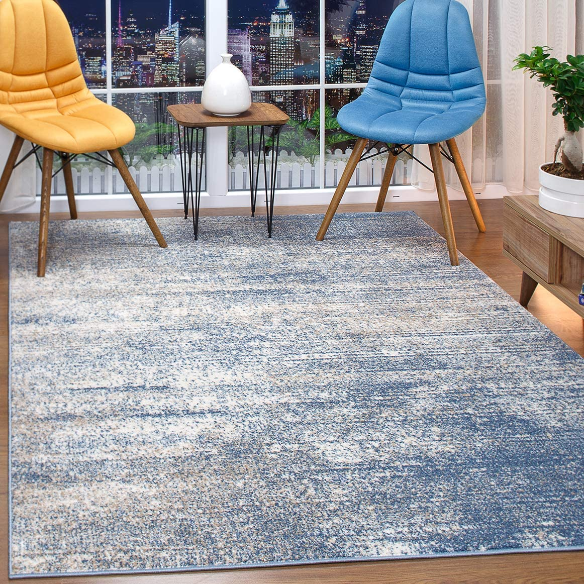 Antep Rugs Florida Collection Distressed Modern Abstract Polypropylene Indoor Area Rug (Blue, 8' x 10')