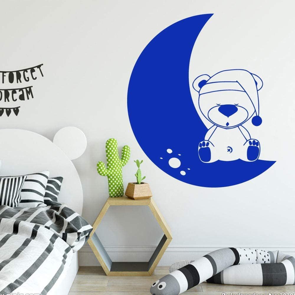 vwsitc Bear Moon Stickers for Kids Room Decoration PVC Decal Wall Decals Sticker Mural Bedroom Decor 58 67Cm