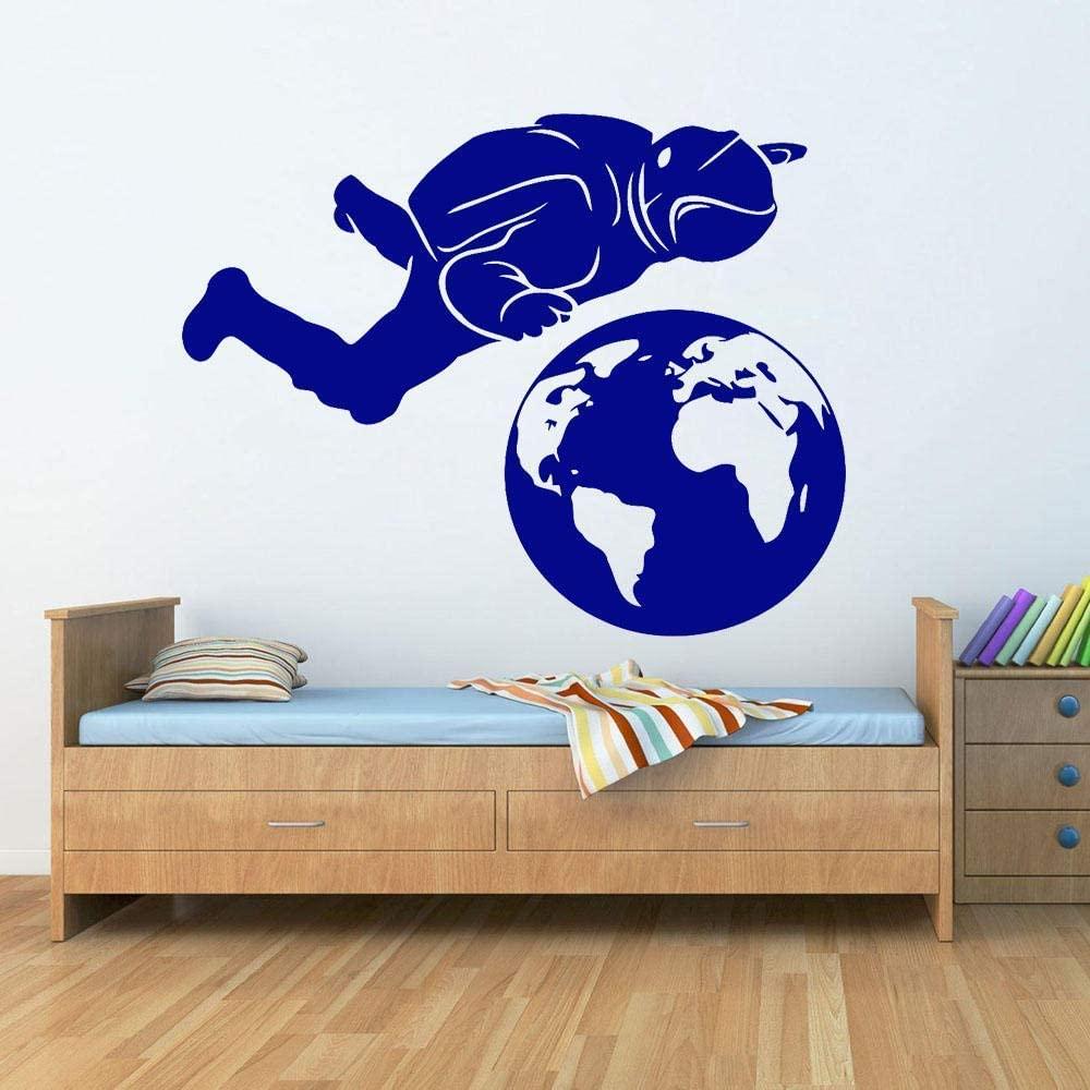 vwsitc Astronaut Cosmonaut Planet Earth Wall Stickers Nursery Vinyl Wall Decal Bedroom Home Decoration Boys Room Decor 53X42Cm