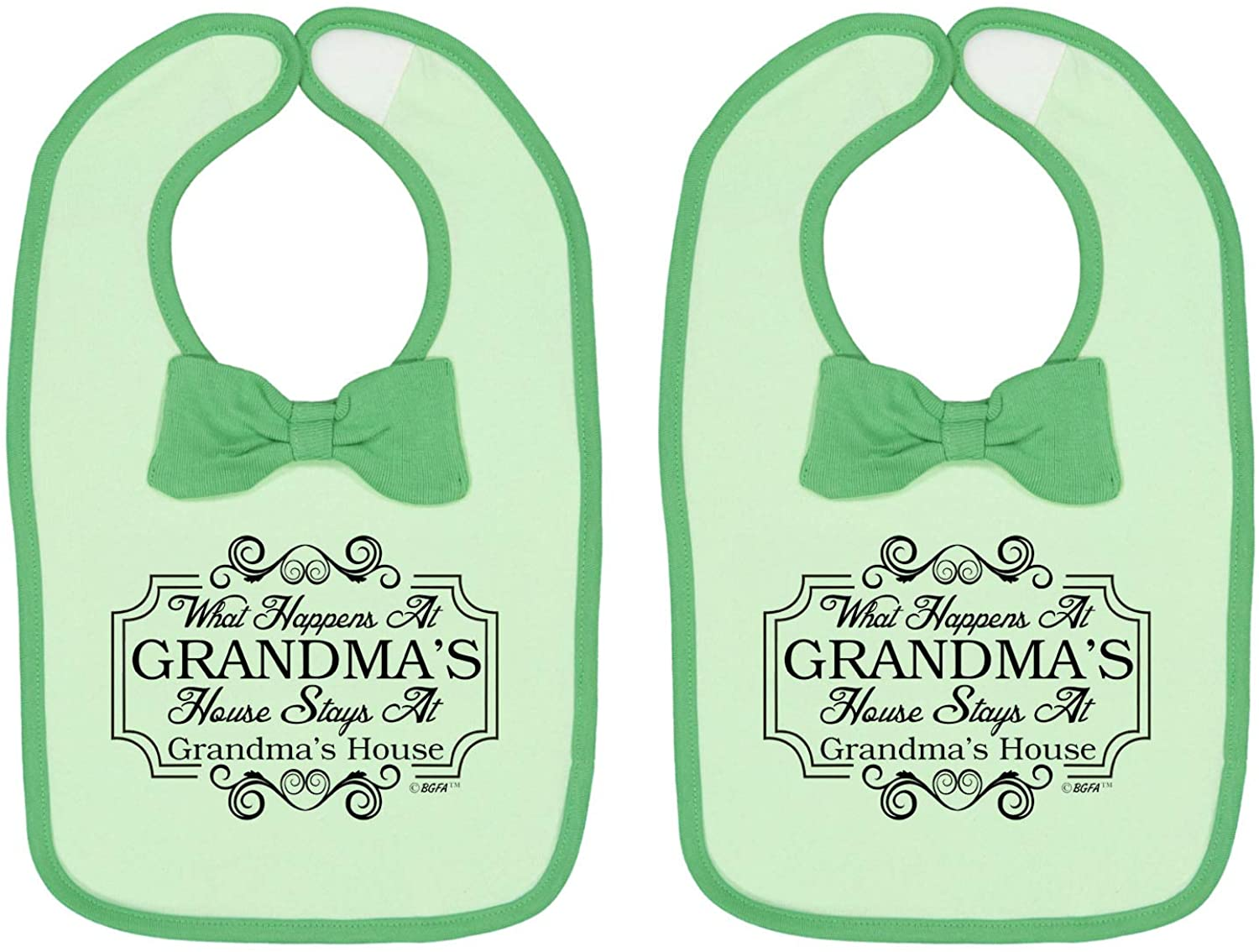 Baby Gifts for All What Happens At Grandmas House Funny Baby Bow Tie Bib