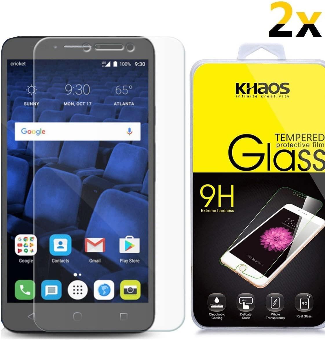 [2-Pack] KHAOS for Alcatel Pixi Theatre 4G LTE Tempered Glass, HD Anti-Scratch, Anti-Fingerprint, Bubble Free