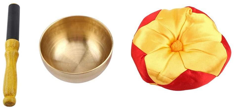 Tibetan Buddhism Singing Bowl - 1 Set Tibetan Buddhism Meditation Brass Singing Bowl Stick with Cushion Craft Chakra Healing, Yoga, and Mindfulness