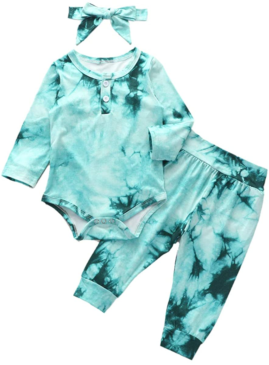 Infant Baby Girl Clothes Tie Dye Long Sleeve Romper Top+ Pants+ Headband 3Pcs Set Baby Girl Fall Outfit