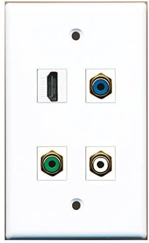 RiteAV - 1 Port HDMI 1 Port RCA White 1 Port RCA Green 1 Port RCA Blue Wall Plate