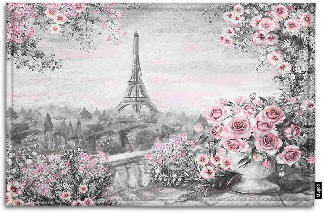 Mugod Eiffel Tower Indoor/Outdoor Doormat Gray Pink Oil Painting for Paris Summer Landscape Flower Roses Leaf Funny Doormats Bathroom Kitchen Area Rug Non Slip Entrance Door Floor Mats, 18