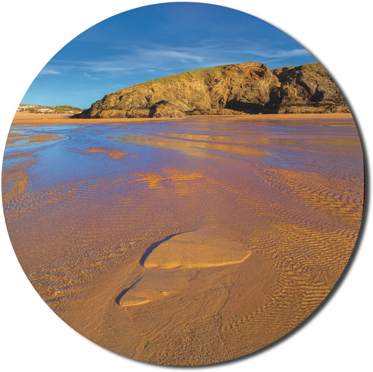 Lunarable Footprints in The Sand Mouse Pad for Computers, Shallow Water Waves in Perranporth Beach on Sunny Day, Round Non-Slip Thick Rubber Modern Gaming Mousepad, 8