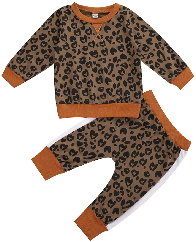 MXVPY Toddler Baby Girls Leopard Velvet Stripe Long Sleeve 2pcs Set Fashion Fall Outfits