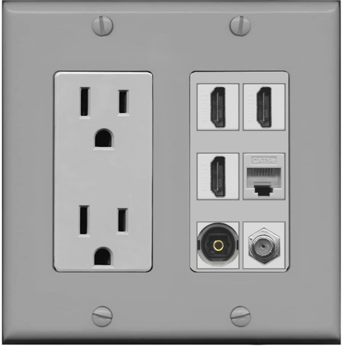 RiteAV Power Outlet 3 HDMI Coax Cat5e Toslink Wall Plate - Gray