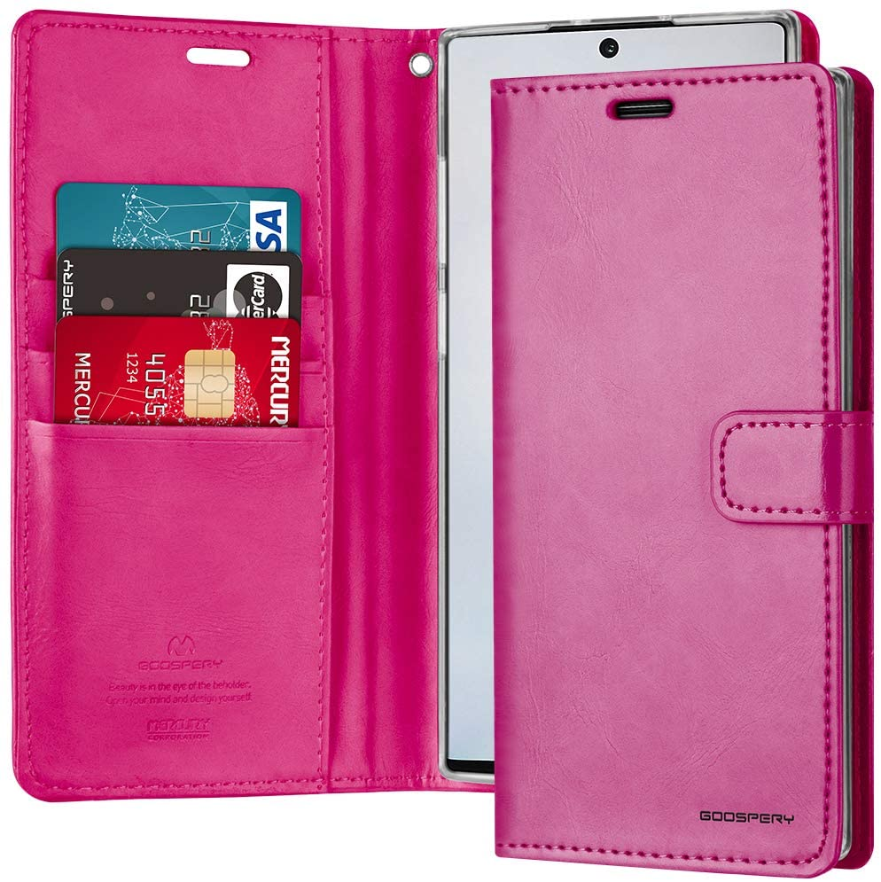 Goospery Blue Moon Wallet for Samsung Galaxy Note 10 Plus Case (2019) Leather Stand Flip Cover (Hot Pink) NT10P-BLM-HPNK