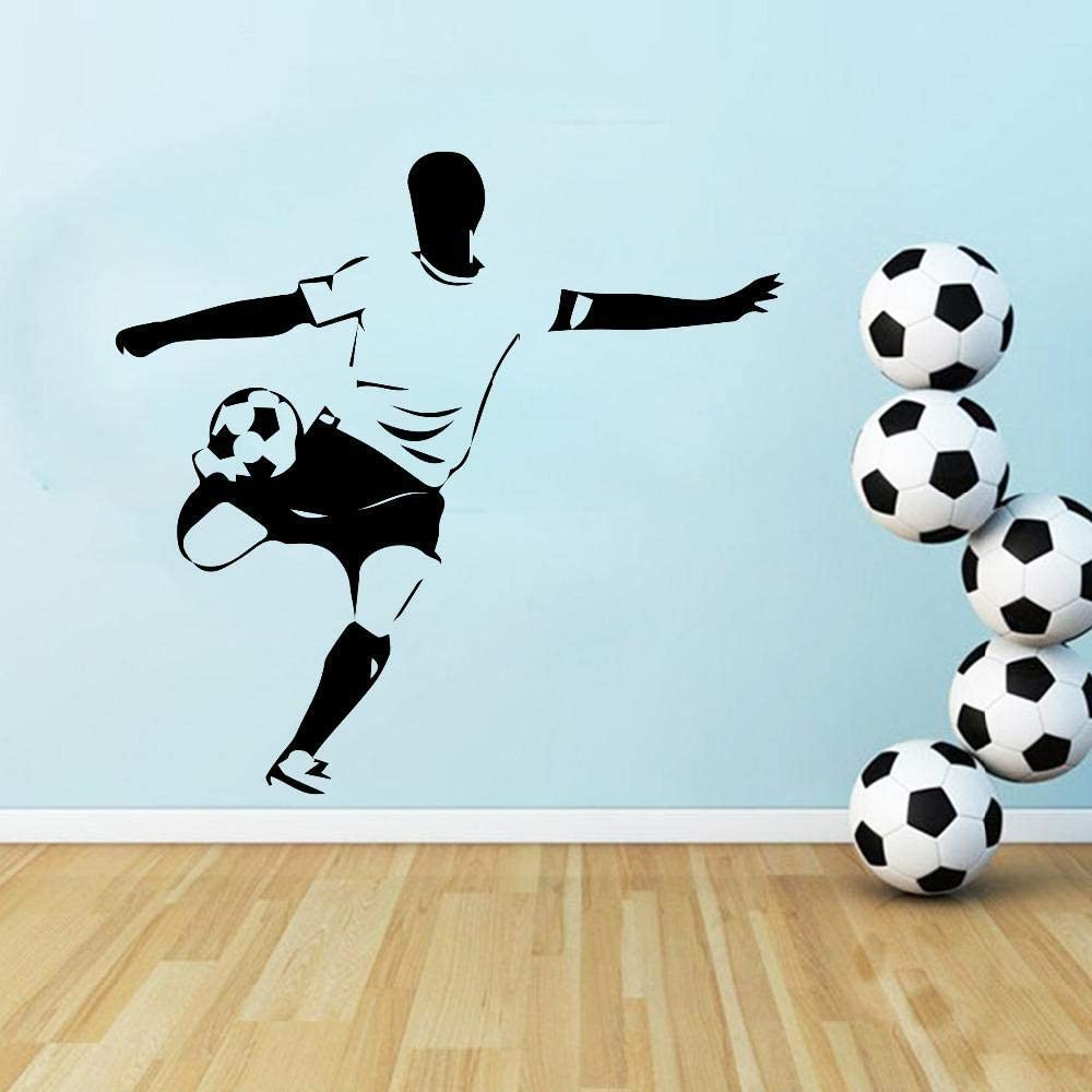 dsajgker 43X44Cm Soccer Player Wall Sticker Wall Decals for Boys Bedroom Kids Room Decoration Removable Vinyl Stickers Mural Wall Decor