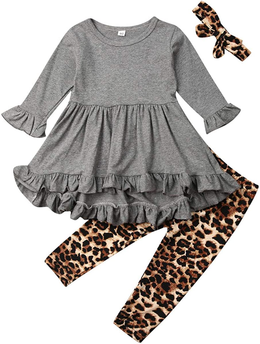 Toddler Baby Girl Outfit Ruffle Long Sleeve Tunic Dress Top+Leopard Floral Legging Pants+Headband Clothes Set