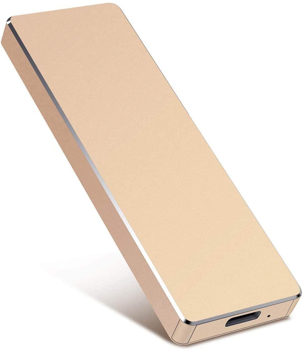 External Hard Drive, Hard Drive Portable Slim External Hard Drive USB 3.0 1TB 2TB Compatible with PC, Laptop and Mac(2TB Golden)