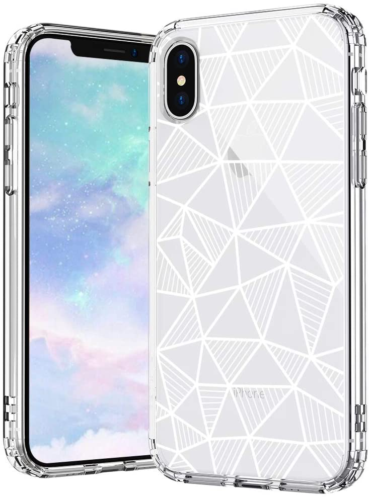 MOSNOVO iPhone Xs Max Case, Geometric Pattern Printed Clear Design Transparent Plastic Hard Back Case with TPU Bumper Protective Case Cover for iPhone Xs Max