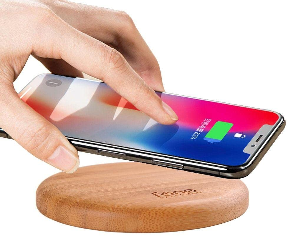 Fonesalesman - WoodPuck Bamboo Edition Qi Wireless Charging Pad   7.5W Charger for iPhone11, 11 Pro, XS, XR, X, 8; 10W, Galaxy S10, S10 Plus, S10e, S9, S9 Plus, Note 10, 9 & More (No AC Adapter)